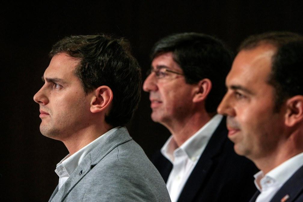 Sevilla 8 de mayo de 2015 Rueda de prensa de Albert Rivera, Juan Marin y Javier Millan, de Ciudadanos Foto: Manuel Olmedo